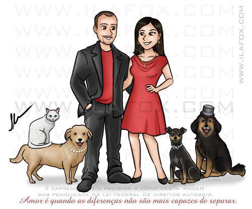 Caricatura desenho, caricatura família com cães, caricatura desenho by ila fox