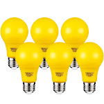 TORCHSTAR 7W Yellow LED A19 Colored Light Bulb, E26/E27 Base, for Porch, Patio, Backyard, Entry Way Lights, 30,000hrs, Pack of 6