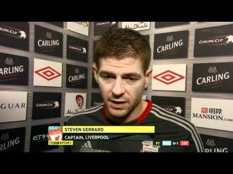 Roberto Mancini and Steven Gerrard Interview after League Cup First leg on 11.01.12