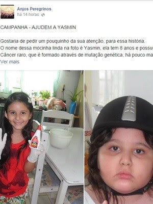 Foto em campanha dos Anjos Peregrinos mostram Yasmin antes do câncer (Foto: Reprodução/Facebook)