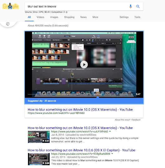 """Suggested Clip"" Appears in Google SERP Results for YouTube Video"