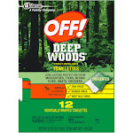 OFF! Deep Woods Insect Repellent Towelettes, Unscented, 12 ct