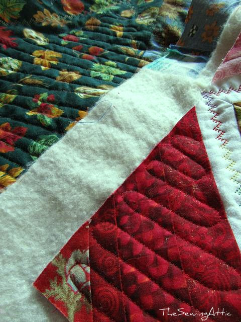 Machine quilting in process