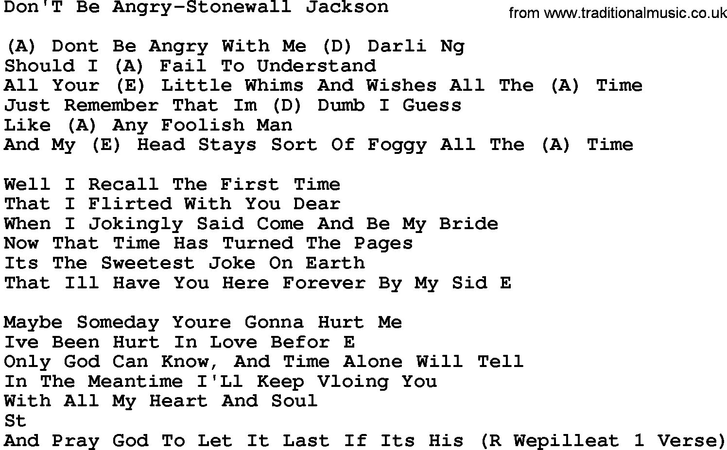 Country Musicdont Be Angry Stonewall Jackson Lyrics And Chords