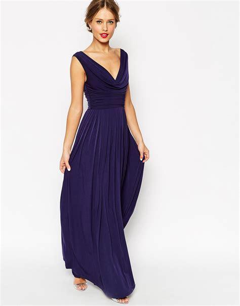 ASOS Wedding Cowl Neck Maxi Dress in Blue   Lyst
