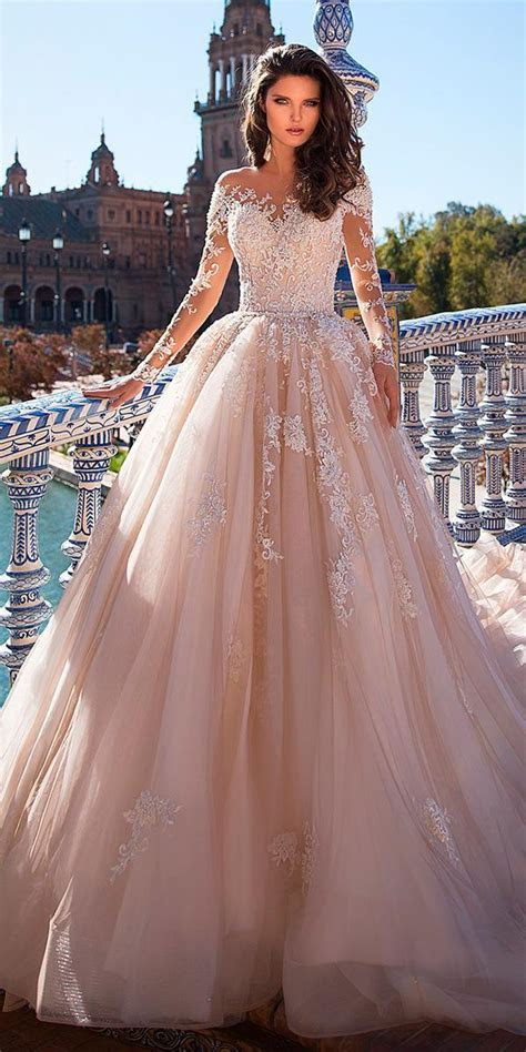 ball gown wedding dresses blush lace illusion long sleeves