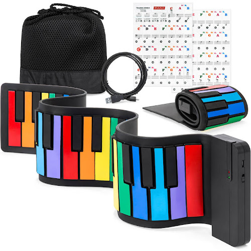 Best Choice Products Kids 49-Key Portable Bluetooth Flexible Roll-Up Piano Keyboard Musical Toy w/ Note Labels - Rainbow