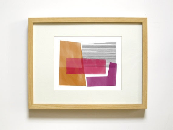 Modern Overlapping Geometric Shapes Art Print - Orange, Purple, Magenta - 8x10 Wall Decor - Living Room, Family Room, Office - RetroMenagerie