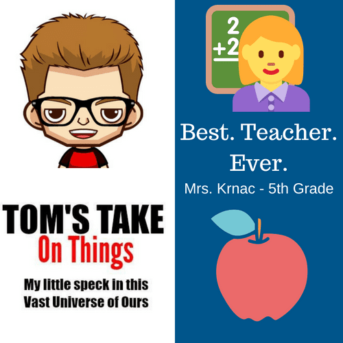 Best. Teacher. Ever. Giveaway - Win $25 in Gift Cards to Staples and Amazon ~ Tom's Take On Things