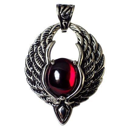 Phoenix Pendant Red Stone Vampire Necklace Gothic Jewelry