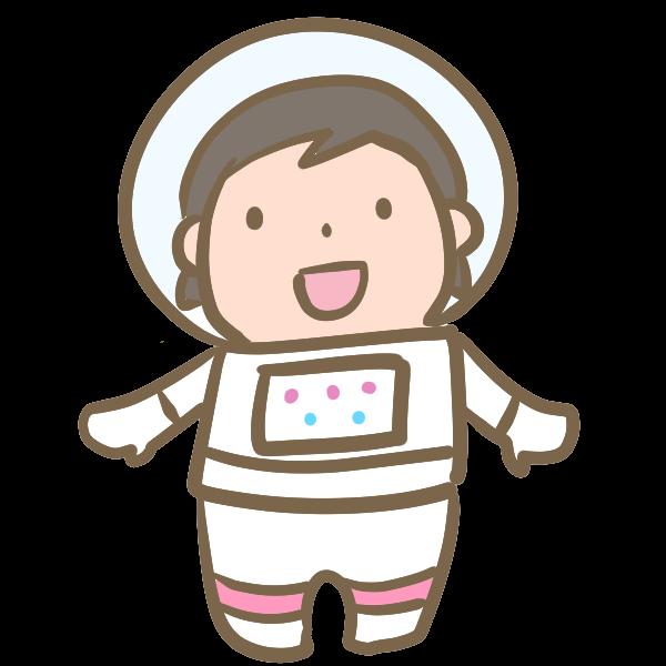 宇宙飛行士女の子のイラスト かわいいフリー素材が無料のイラスト