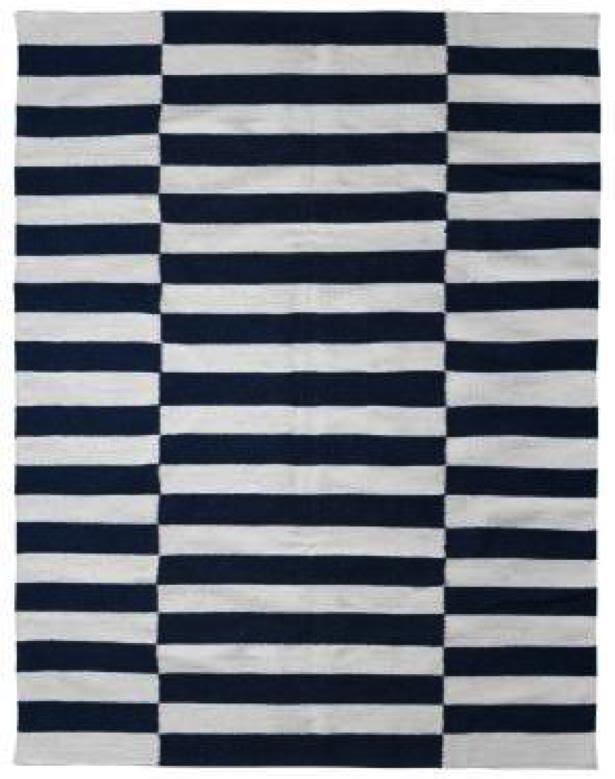 Milk and Sugar Woven Floor Rugs-Broad Stripe Slate