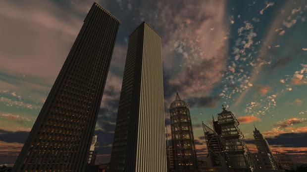 Até mesmo as Torres Gêmeas aparecem em Minecraft (Foto: Reprodução)