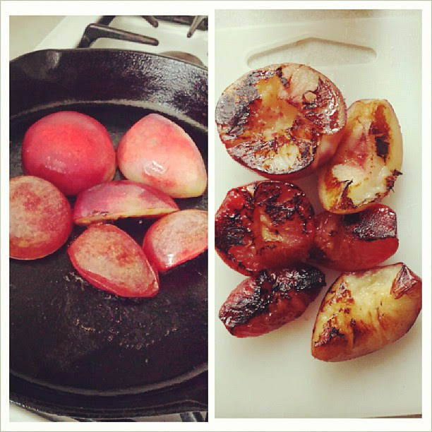 Cast iron pan love. Grilling white peaches and plums for breakfast.