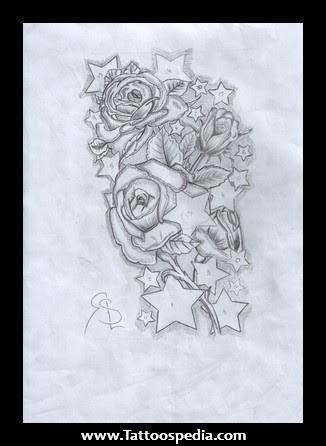 Stars And Rose Tattoo Design