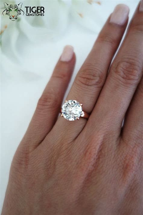 4 Carat Round Cut, Low Profile, Solitaire Engagement Ring