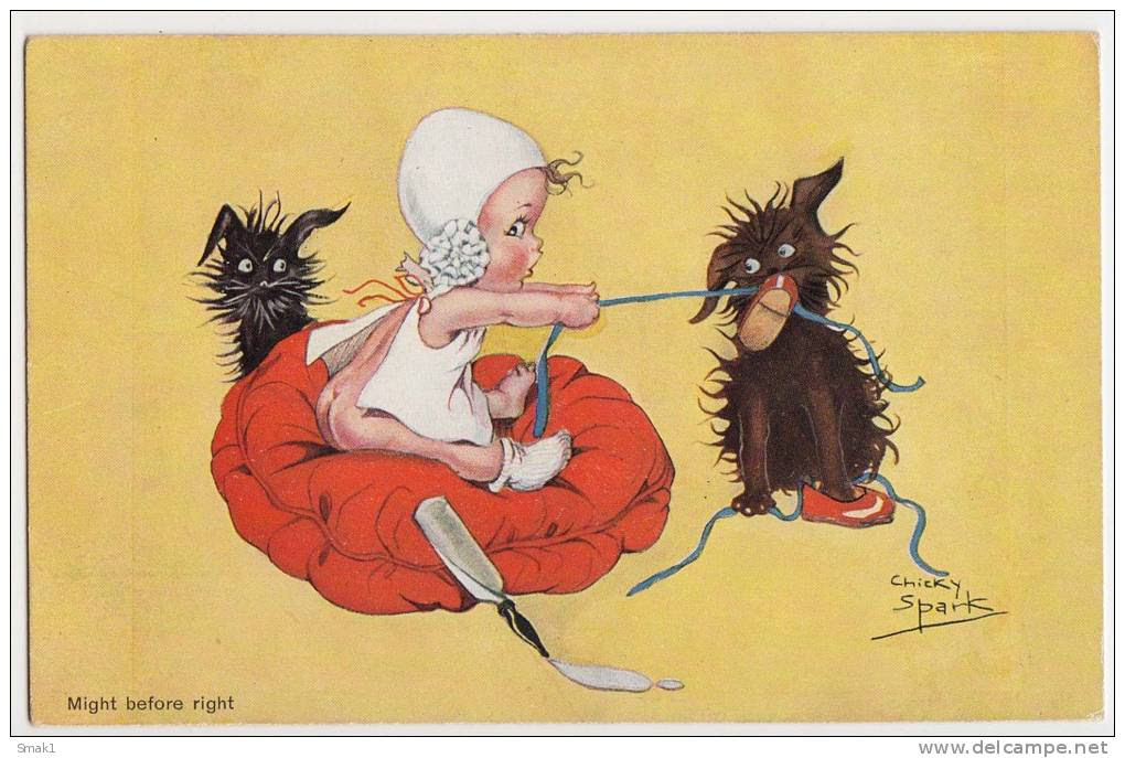 P CHIKY SPARK CHILDREN BABY PLAYING WIHT DOGS AMV  Nr. 973 OLD POSTCARD - Spark, Chicky