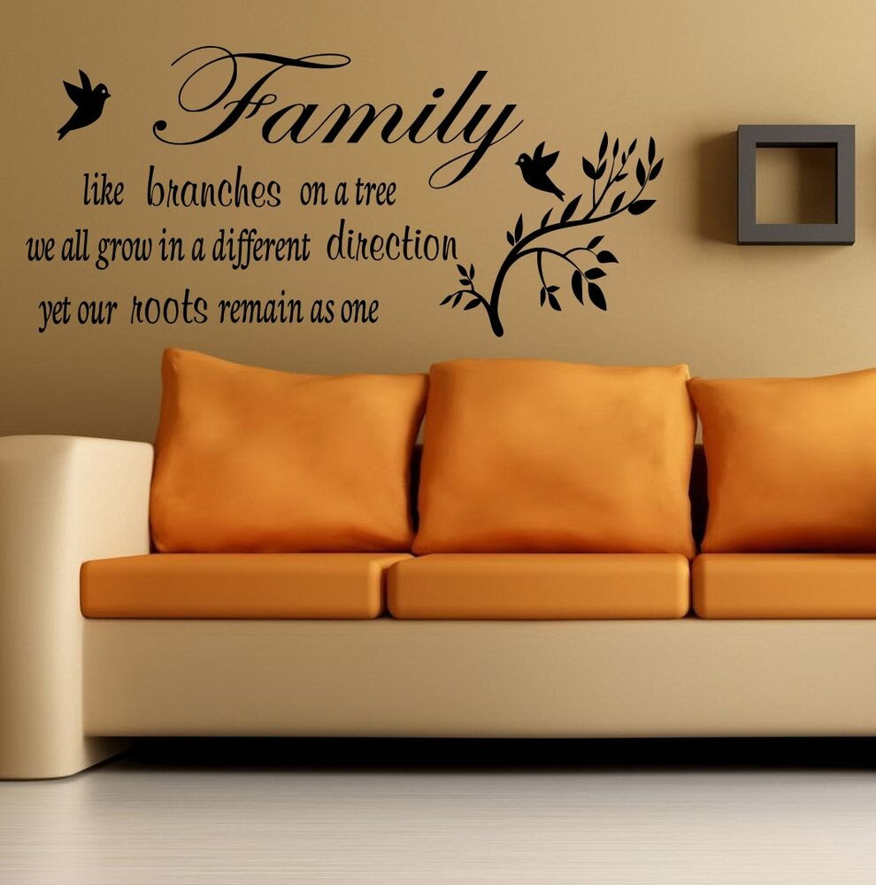 Wall Quote Family like a branches on a tree Wall Sticker Art home Decal SVIL03  eBay