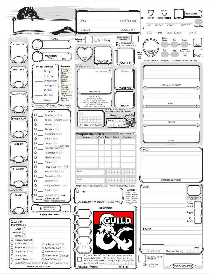 Fully-Loaded 5E Character Sheet - Dungeon Masters Guild | Dungeon ...