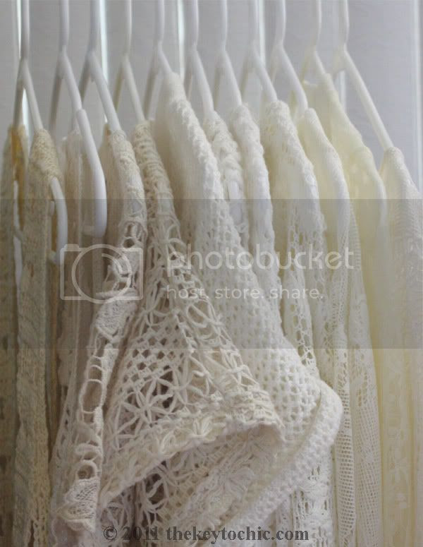 white and ivory lace and crochet tops, ivory knit  open weave sweaters
