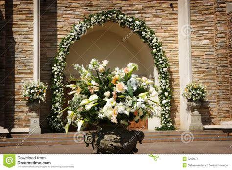 Beautiful Wedding Flowers Outside A Church Stock Image
