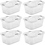 Sterilite Ultra 2 Bushel Plastic Stacking Clothes Laundry Basket, White (6 Pack) by VM Express