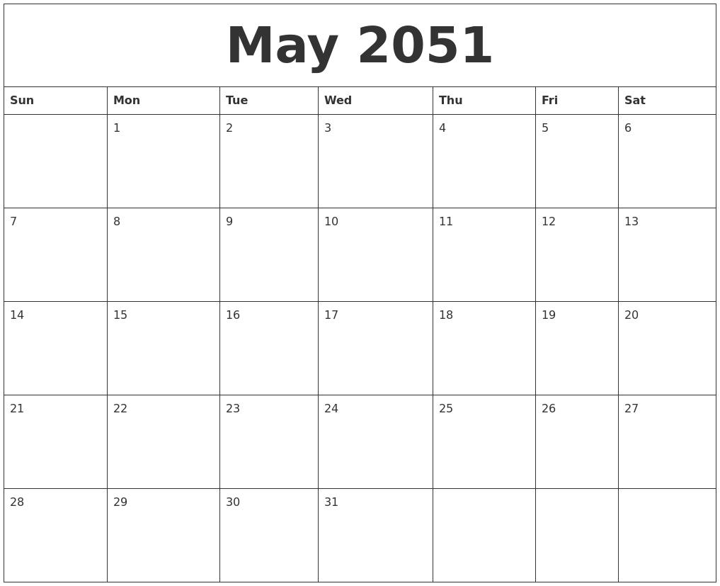 may 2051 calendar for printing