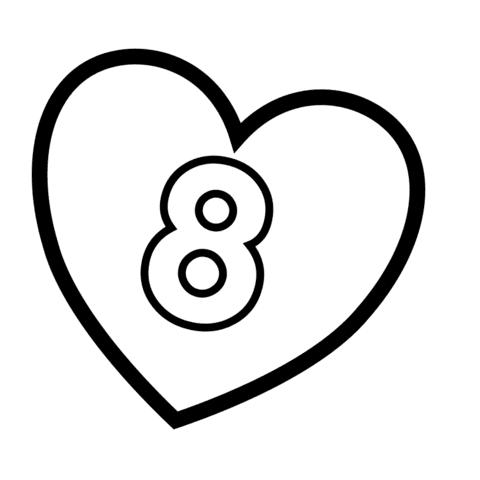 Dibujo De Número 8 En Un Corazón Para Colorear Dibujos Para