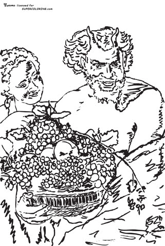 Coloriage Satyre Et Fille Avec Un Panier De Fruits Par Jacob