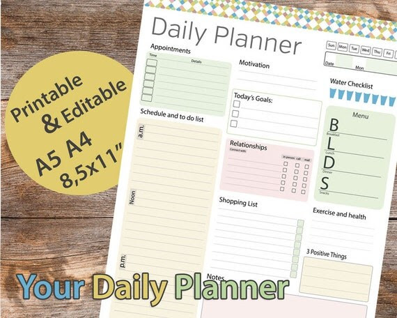 Day planner Printable Daily Planner by AllPrintableDesigns on Etsy