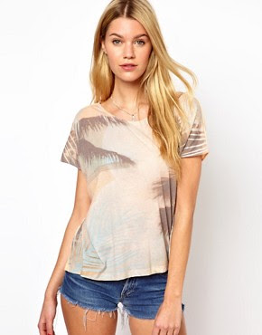 Image 1 ofFrench Connection Palm Tree Print T-Shirt