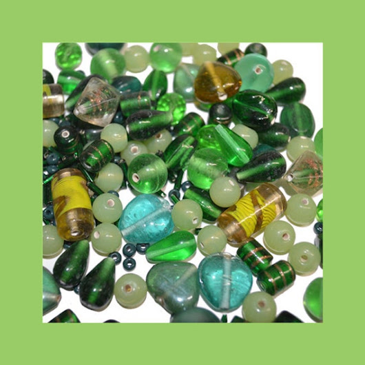 Bead Assortment Shades of Green Ceramic Glass by FindingzFound