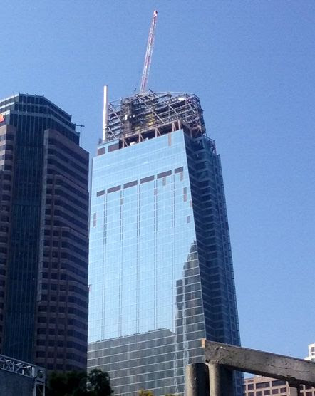 The new spire segment is installed atop the Wilshire Grand Center on August 24, 2016.