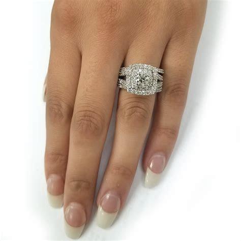 3 ct Diamond Engagement Wedding Double Cushion Halo Trio