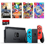 Nintendo Swtich 6 items Bundle:Nintendo Switch 32GB Console Neon Red and Blue Joy-con,64GB Sd Card,4 Game Disc1-2-Switch Just Dance2017 The Legend of