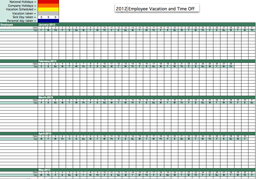 2012 Employee Vacation Time Tracking