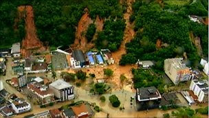 Videograb of mudslide in Teresopolis, Brazil. 12 Jan 2011