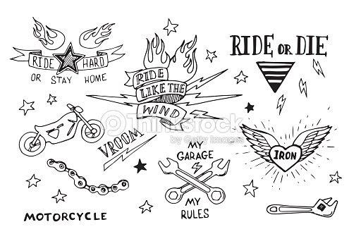 Traditional Tattoo Biker Set Vector Art Thinkstock