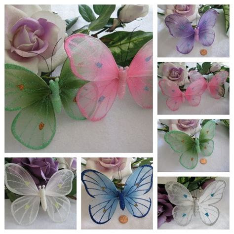 Nylon Butterflies White, Pink, Green, Royal Blue, Purple