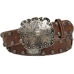 Angel Ranch DA3794-L 1.50 in. Square Conchos with Cross Pattern Ladies Belt Brown - Large