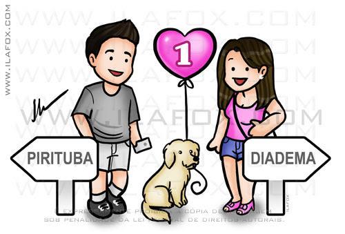 cariactura fofinha, casal com cachorro, by ila fox