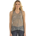 Standards & Practices Women's Lace Front Grey Silk Racerback Tank Top