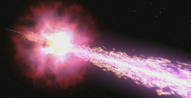 Взрыв, вызванный смертью звезды, стал самым ярким из увиденных астрономами до сих пор (иллюстрация NASA/Swift/Cruz Dewilde).