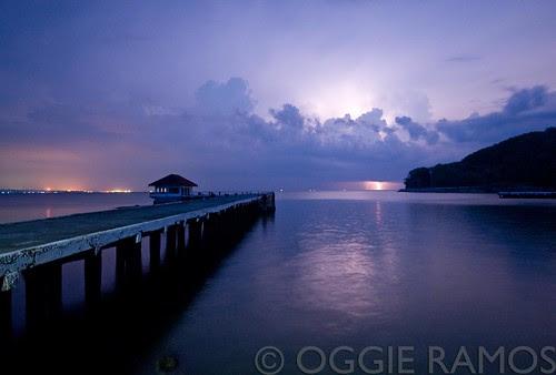 Corregidor - Wharf Lights and Lightning at Night