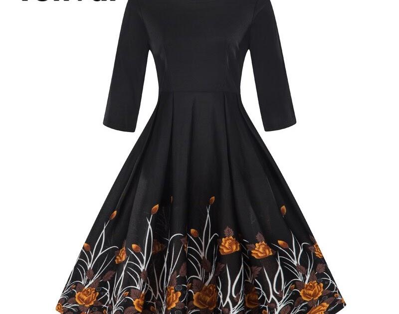 ef86b4f333 Tanie Tonval Linia Vintage Floral Print Casual Dress Jesień 2018 Kobiety  Black 2 3 Długim Rękawem Suknia Zima Retro Huśtawka Sukienki Cena