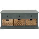 Wood Cabinet with Wicker Storage Basket Drawers Blue - Olivia & May