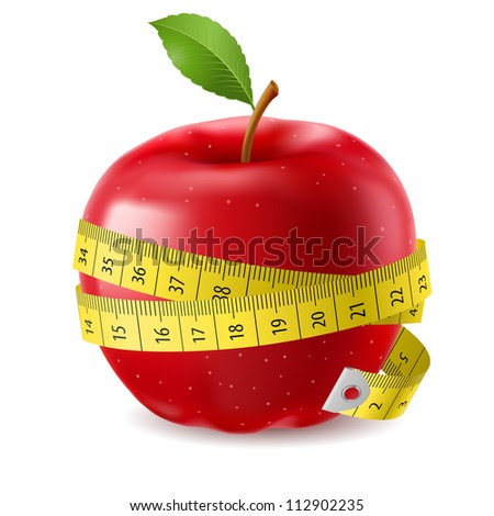 Red apple and measure tape. Illustration on white background - stock vector