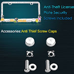 Insten Auto Companion LPF2MC026WIT Dog Playground Design Metal License Plate Frame with White Crystals