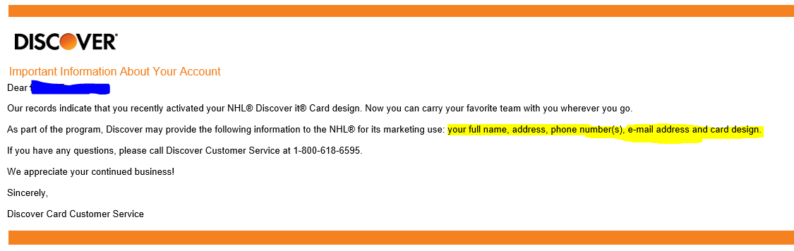 PSA: If you change your Discover card to an NHL logo, Discover