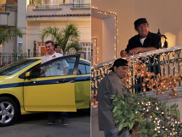 Luciano Huck interpreta um taxista enquanto Renato Aragão e Dedé Santana arrumam as luzes (Foto: TV Globo / Camila Crespo / Miriam Paço)